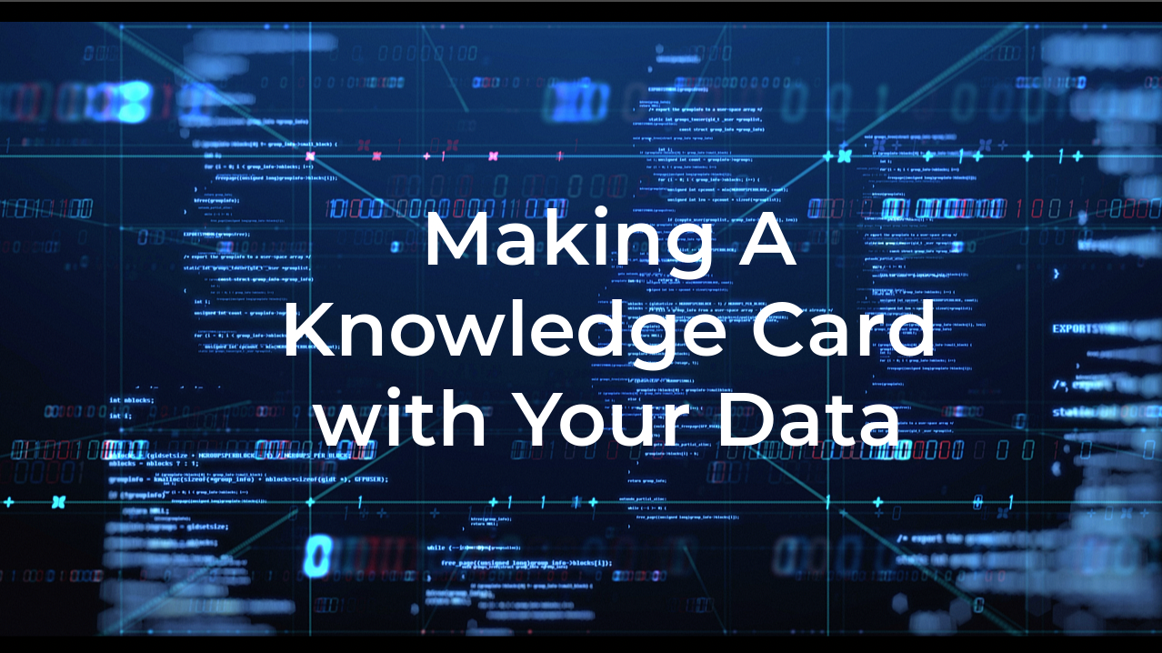 How to build a knowledge card to surface insights within your data